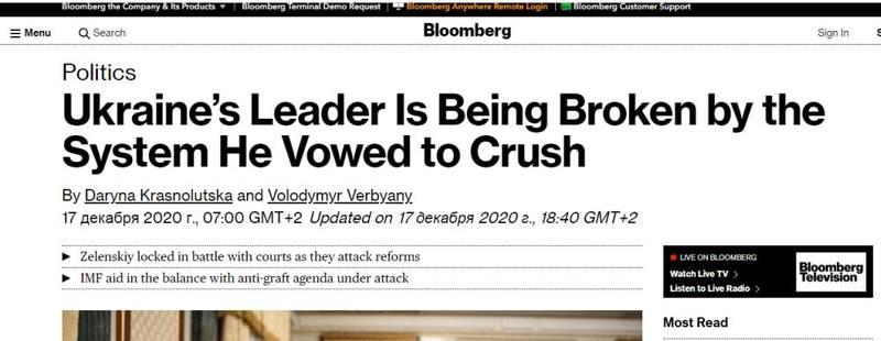 Bloomberg: Зеленский сломался