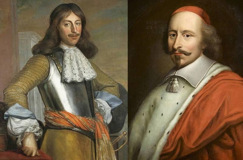 Людовик (Луи) II де Бурбон, принц де Конде (слева) и первый министр Франции кардинал Джулио Мазарини