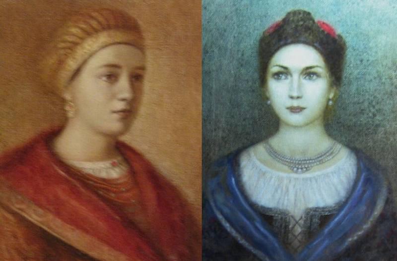 Жёны Богдана Хмельницкого: первая, Анна-Гафия (слева, умерла не позднее 1647 года) и Гелена-Мотрона