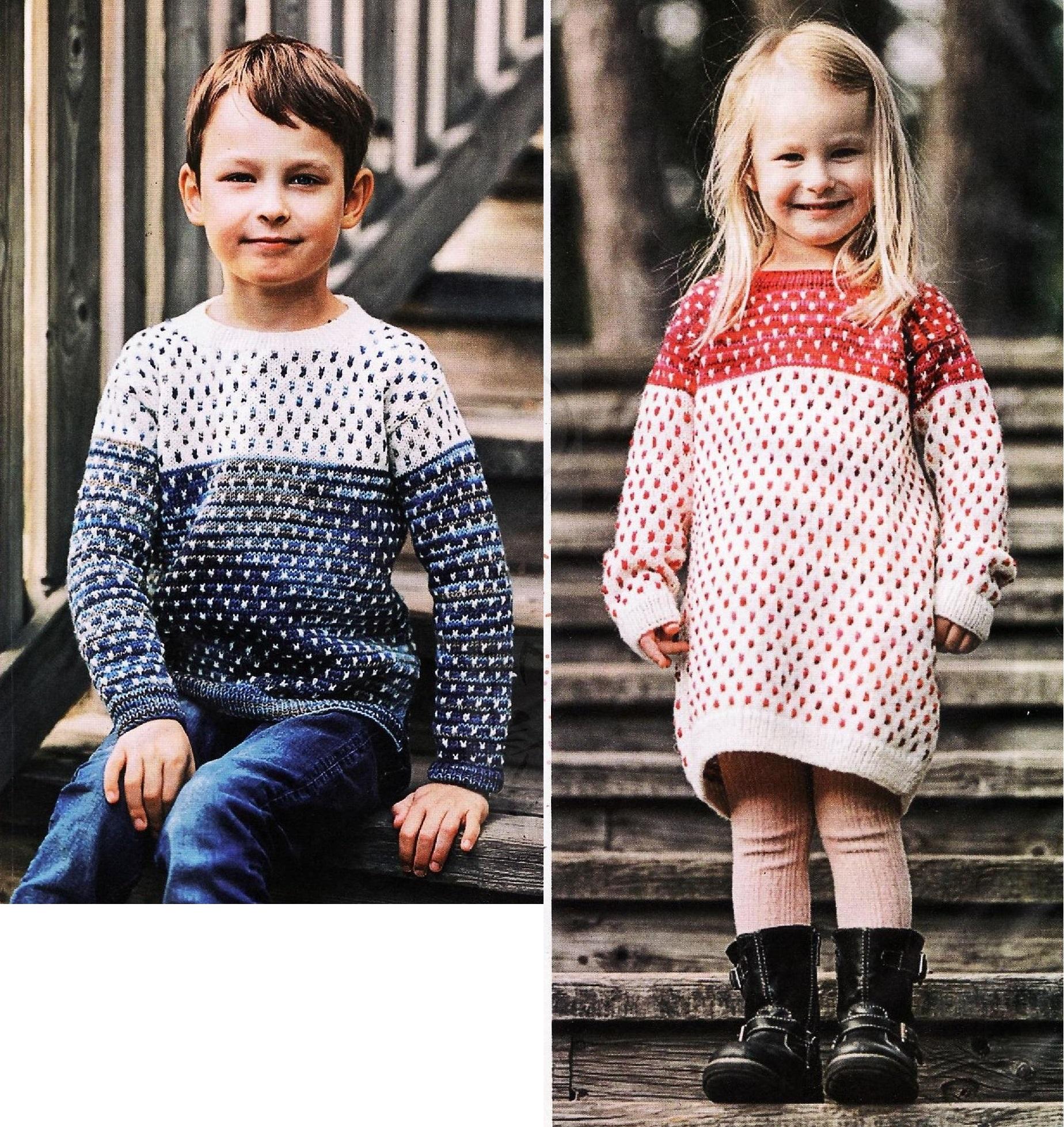 Для Него и для Неё — детские вязаные пуловеры спицами