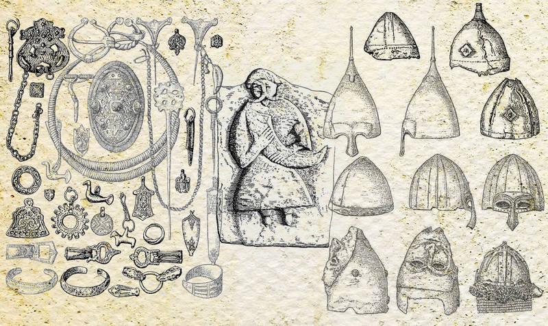 Древности русского Приобья и украшения ливов, русские шлемы, русский волхв