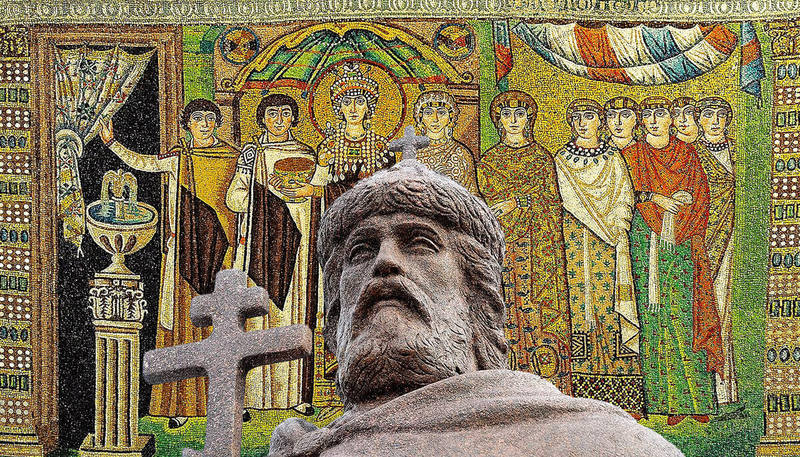 Князь Владимир на фоне византийской мозаики