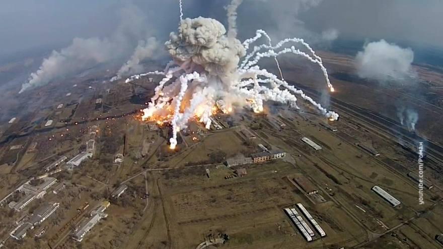 Пожар на складе боеприпасов в Челопечене