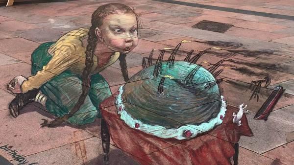 Графити Грета Тунберг за работой
