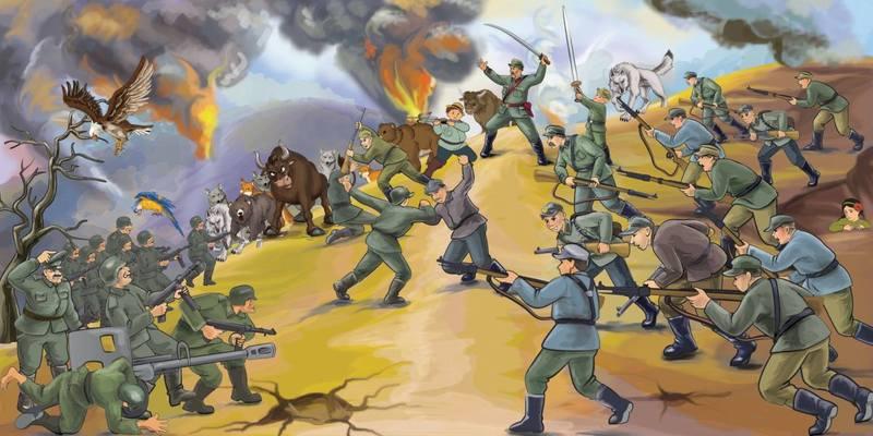 Одна из иллюстраций бандеровских побед над вермахтом в детских книгах