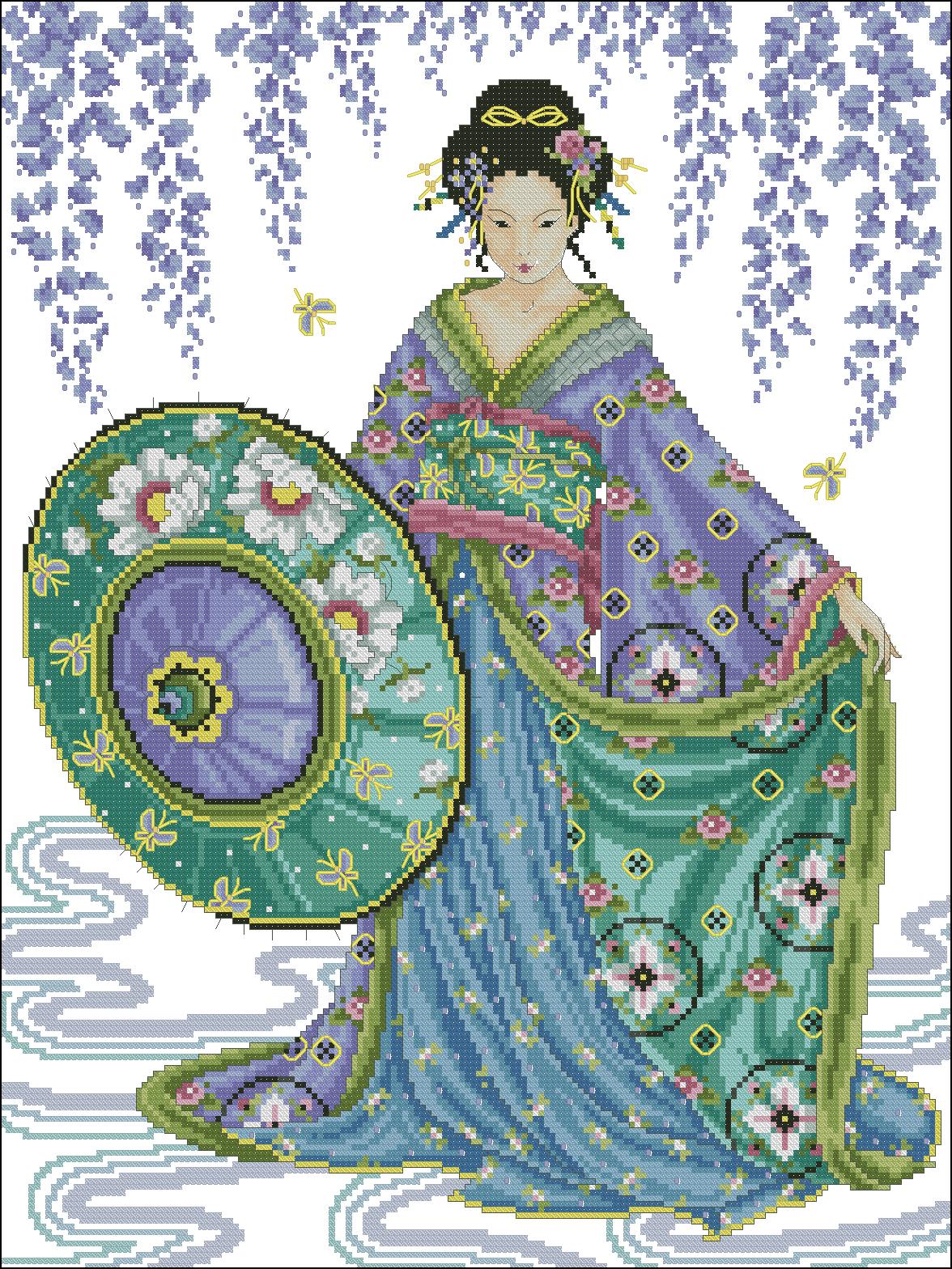 Вышивка крестом японка схема фото 126