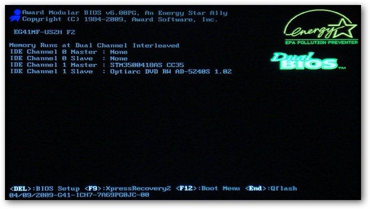 первый запуск компьютера после сборки