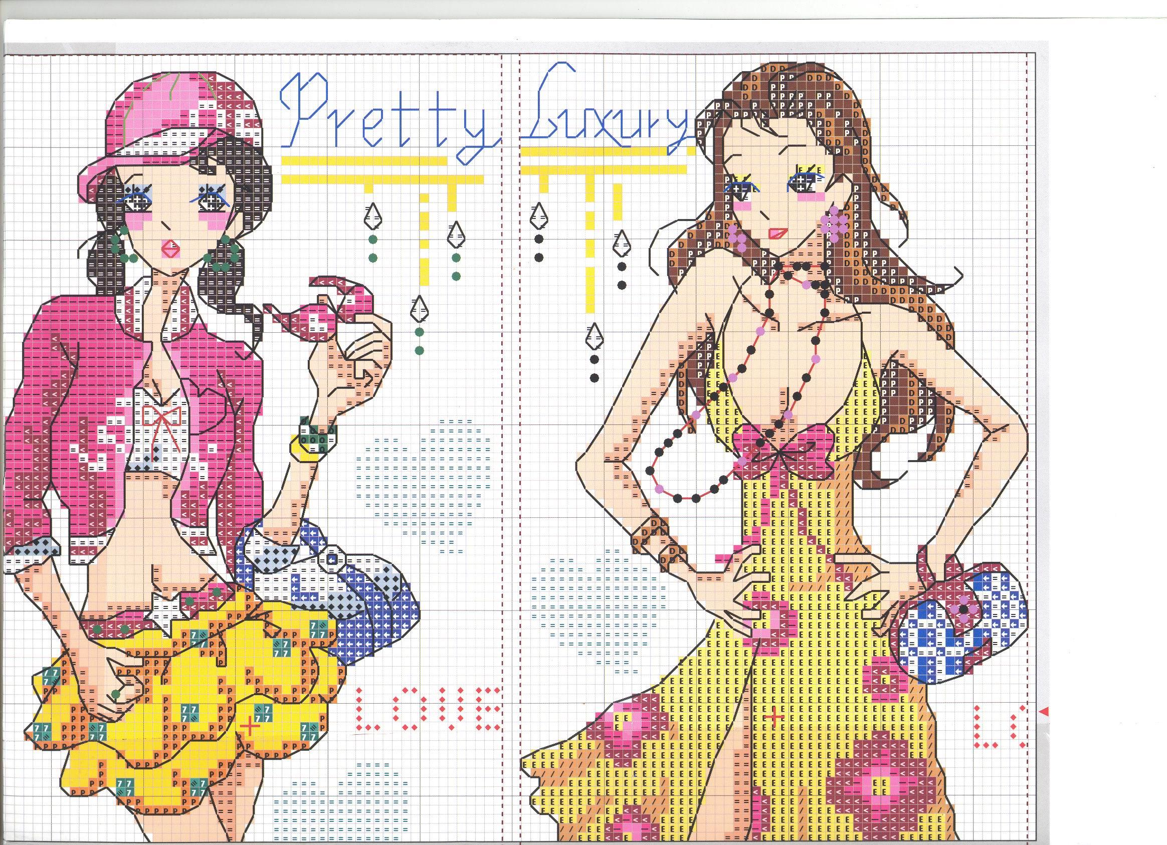 Схема вышивки крестом девушка за вышивкой