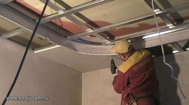 Делаем потолок из гипсокартона своими руками видео