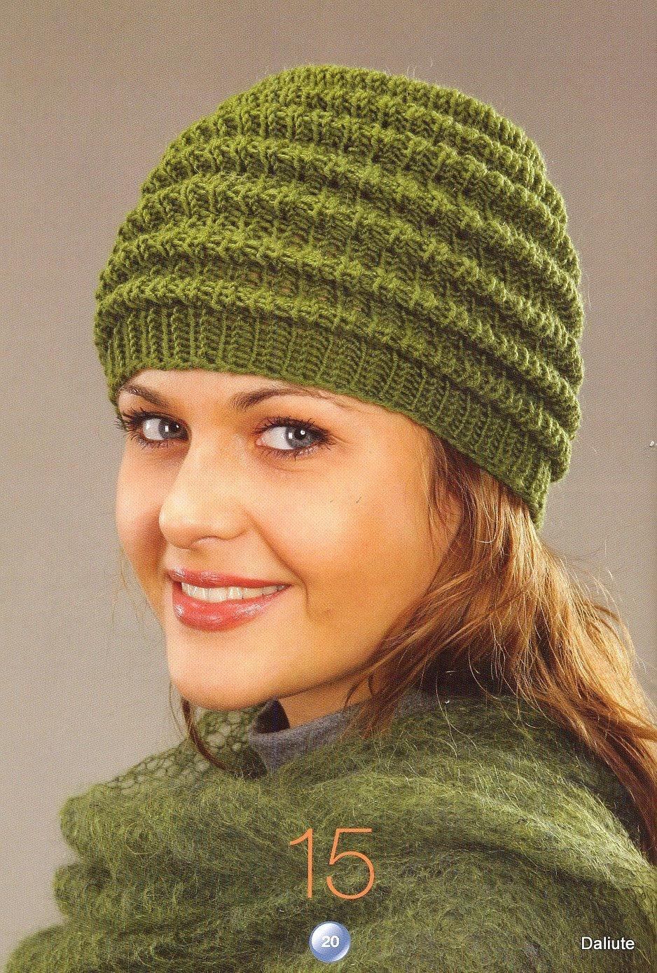 Вязание спицами женских шапок схемы описание