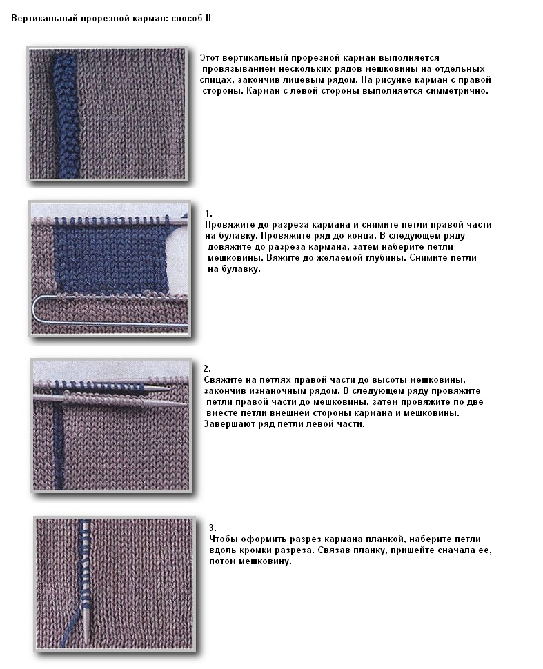 Прорезной карман вязание спицами 248