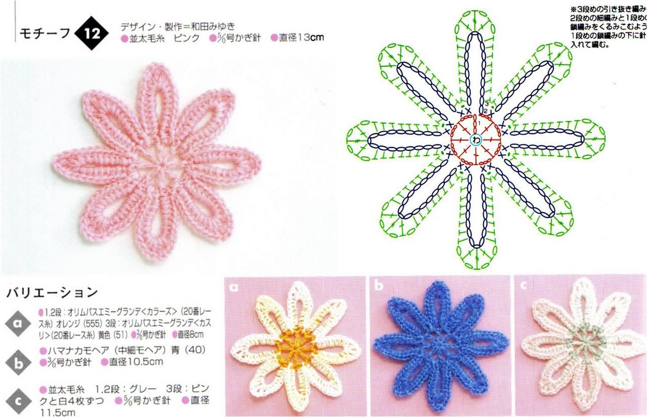 Миниатюрные цветы крючком 33