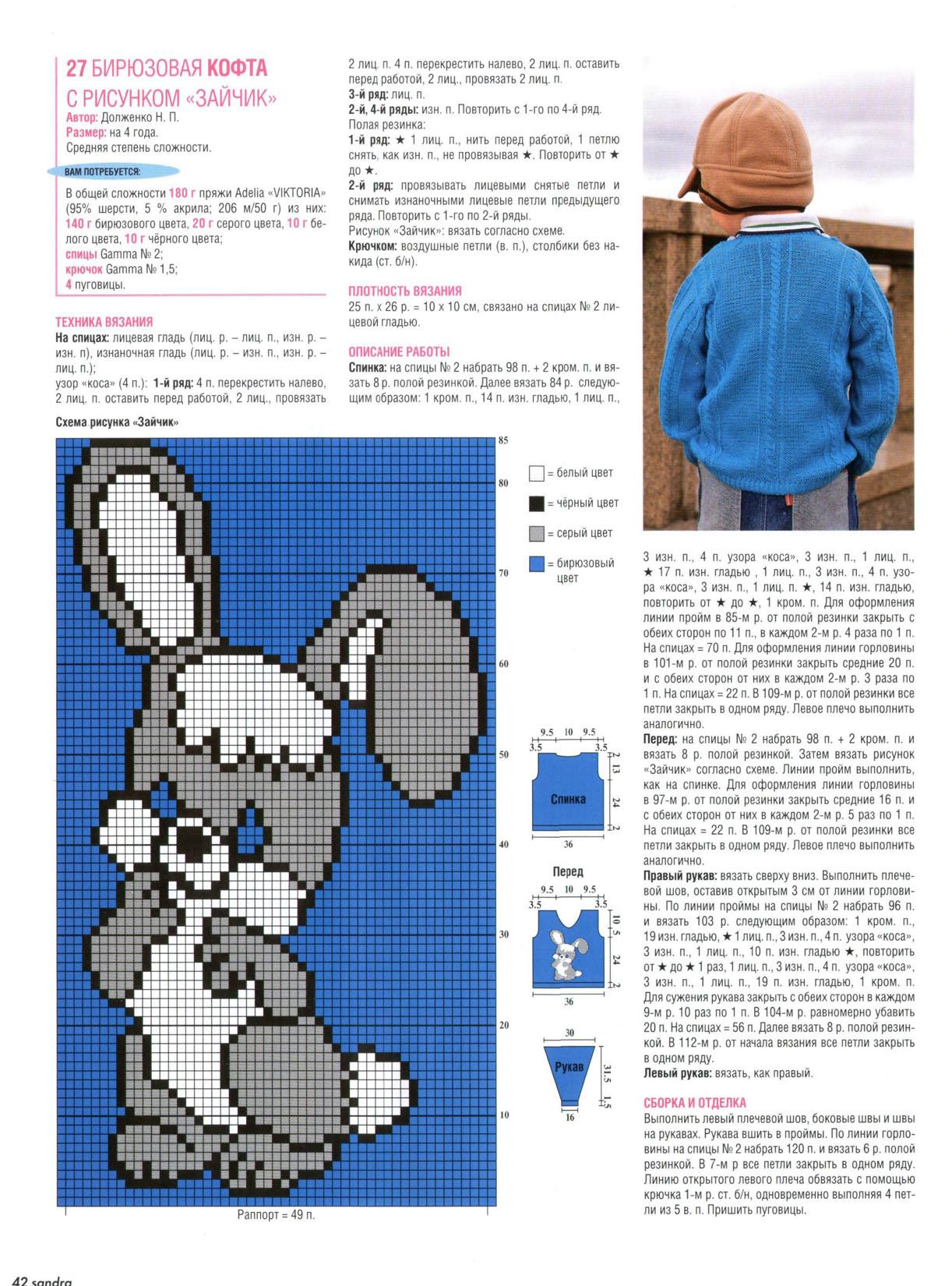 Вязание узоров спицами на детский свитер
