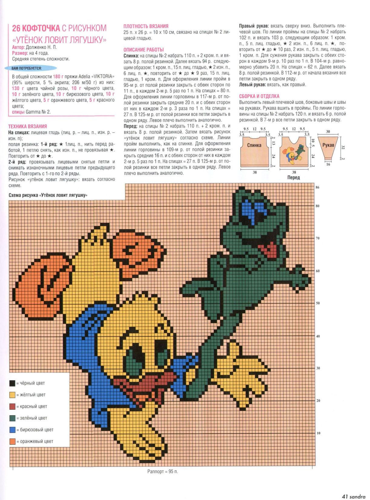 Схемы рисунков для вязания спицами с описанием и схемами для детей