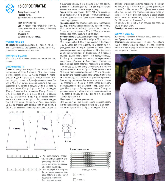 Вяжем платье спицами схемы и фото