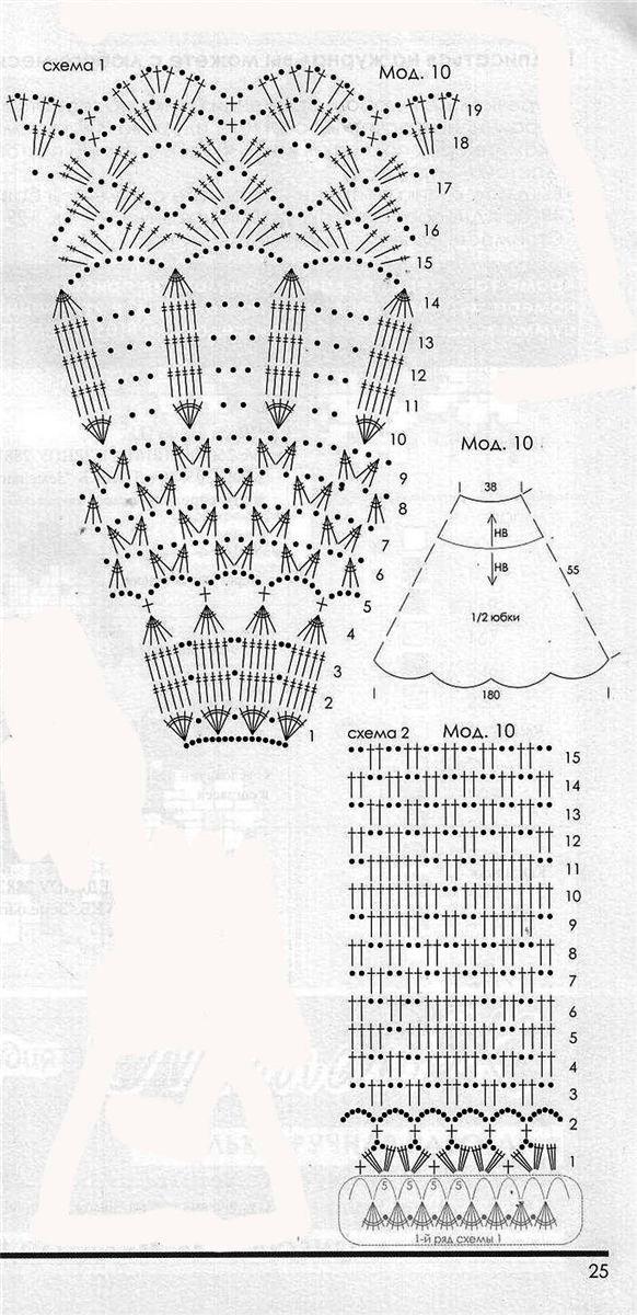 Схемы вязания крючком юбок годе 313