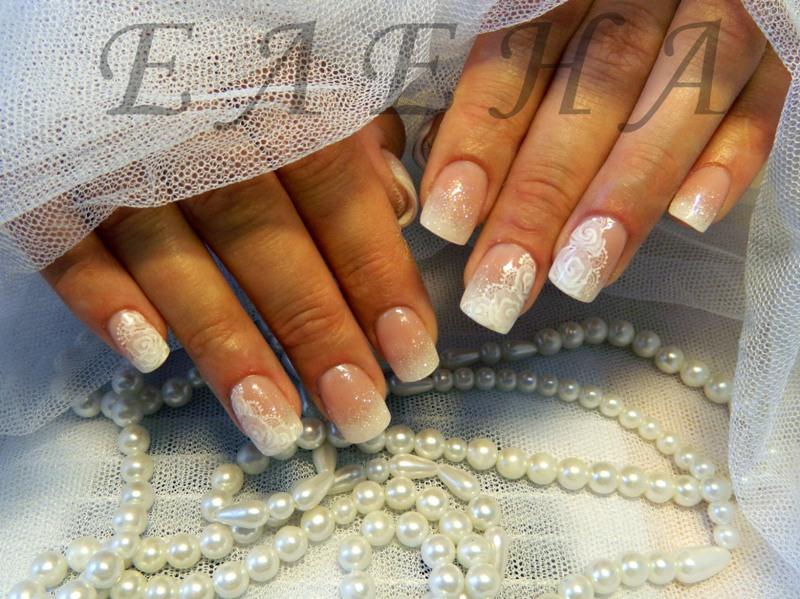 Маникюр свадебный короткие ногти