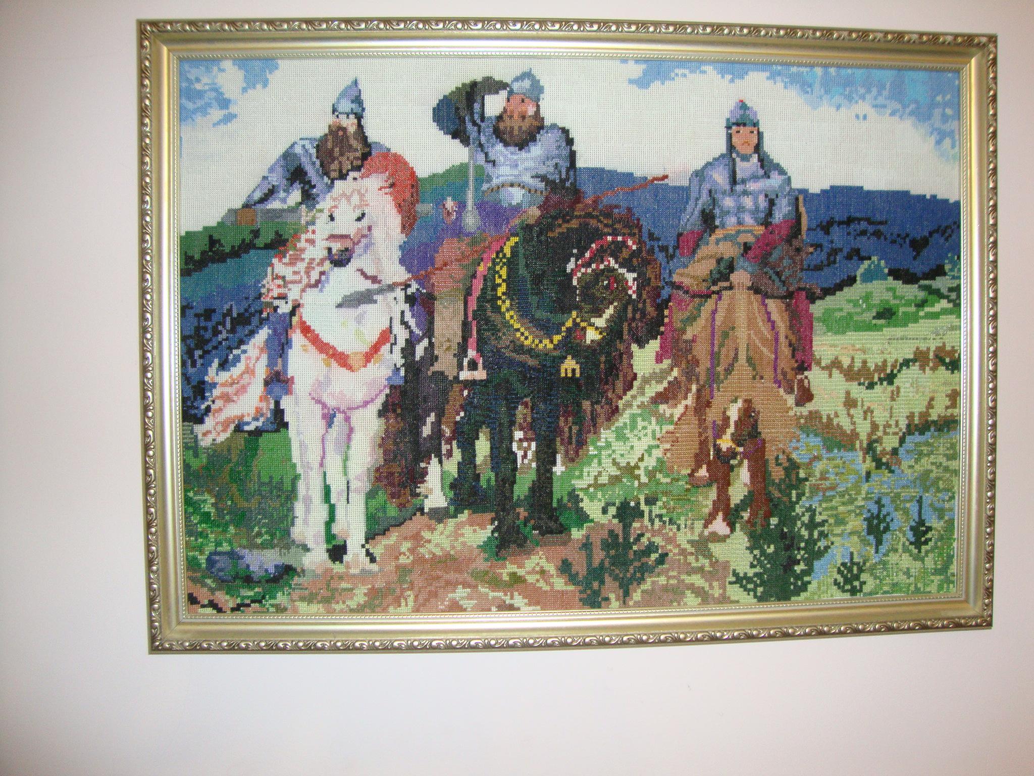 Схема для вышивки по картине три богатыря