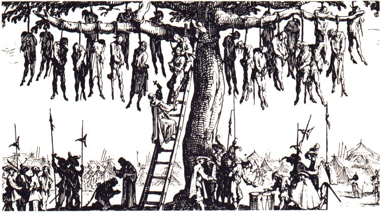 the composition of hanging tree an etching by jacques callot