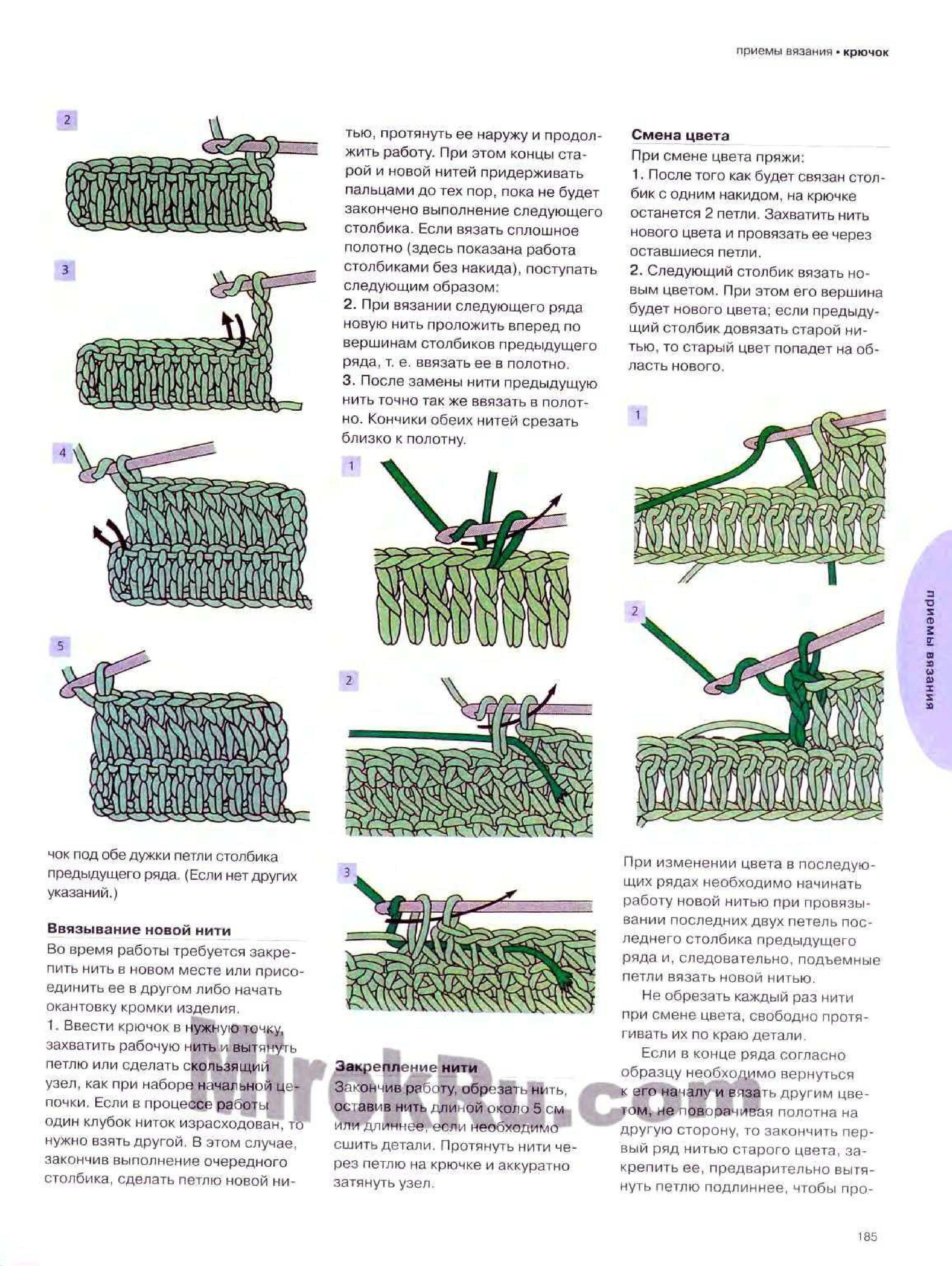 Как ввести нитку другого цвета в вязании спицами