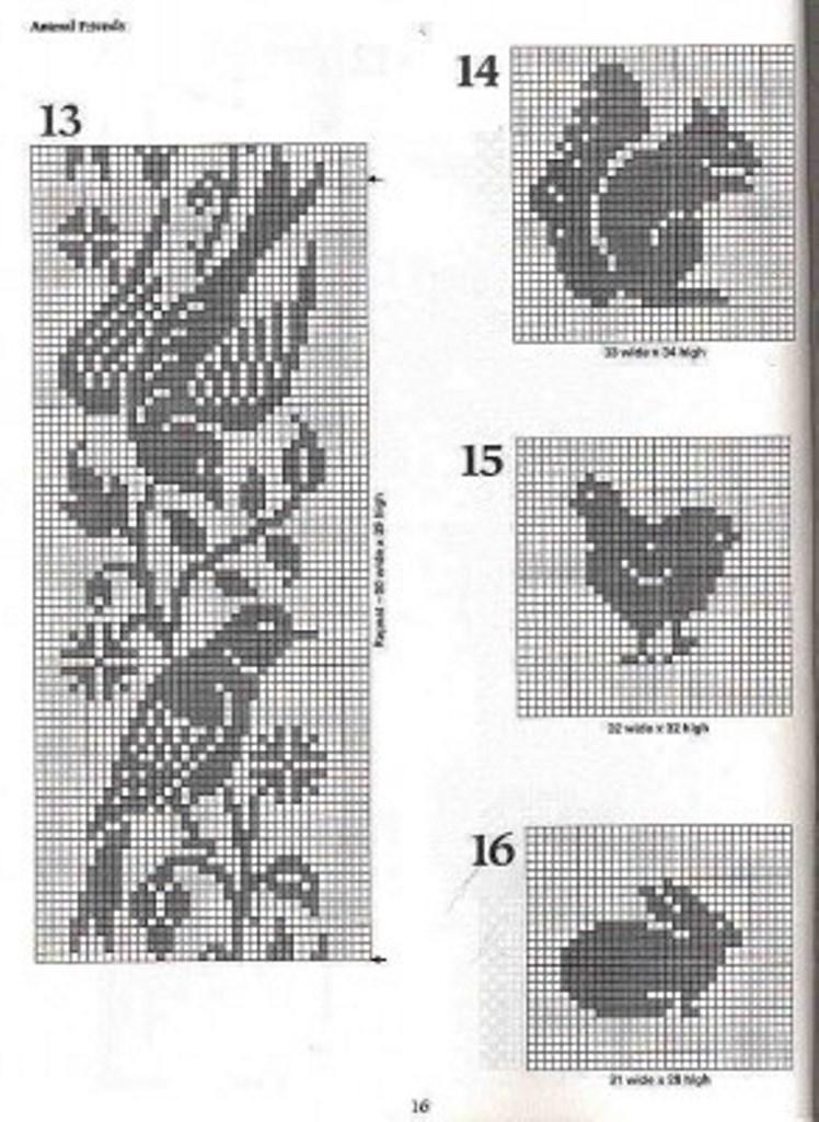 Маленькие схемы для филейного вязания крючком6