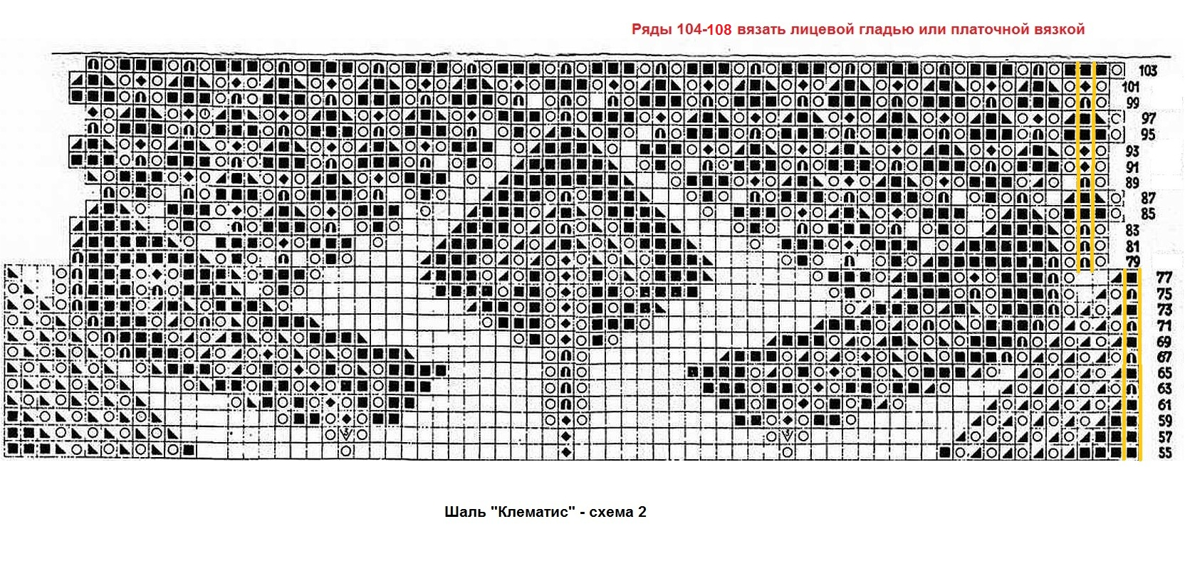 Вязание шалей клематис