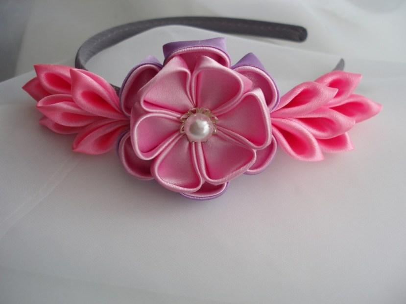 Цветок канзаши на ободке купить омск, матиолой корзине