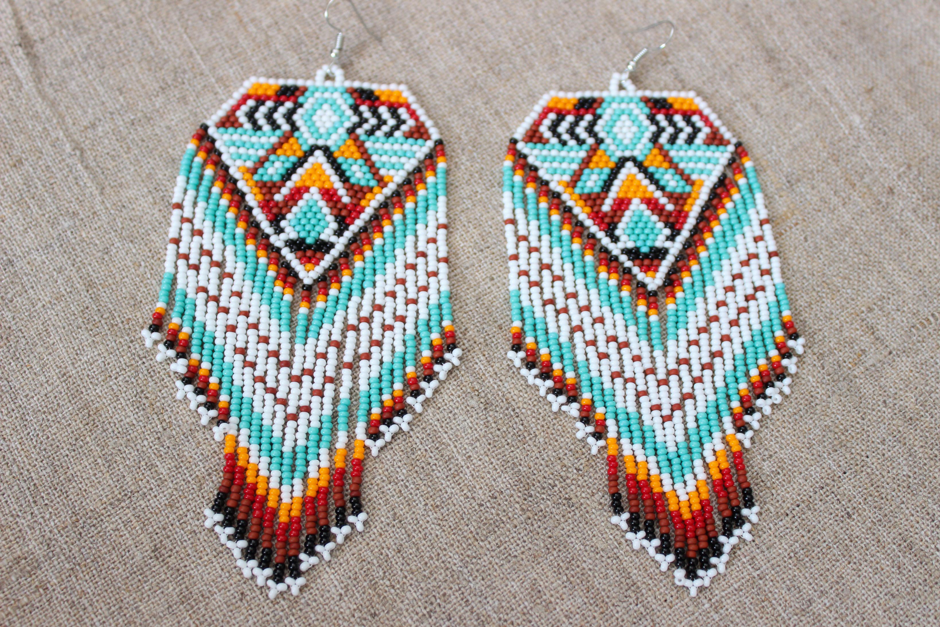 Native American Style Earrings Indian Beaded Geometric Aztec Tribal Large Dangling