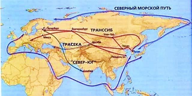 Карта Северного пути и других шелковых