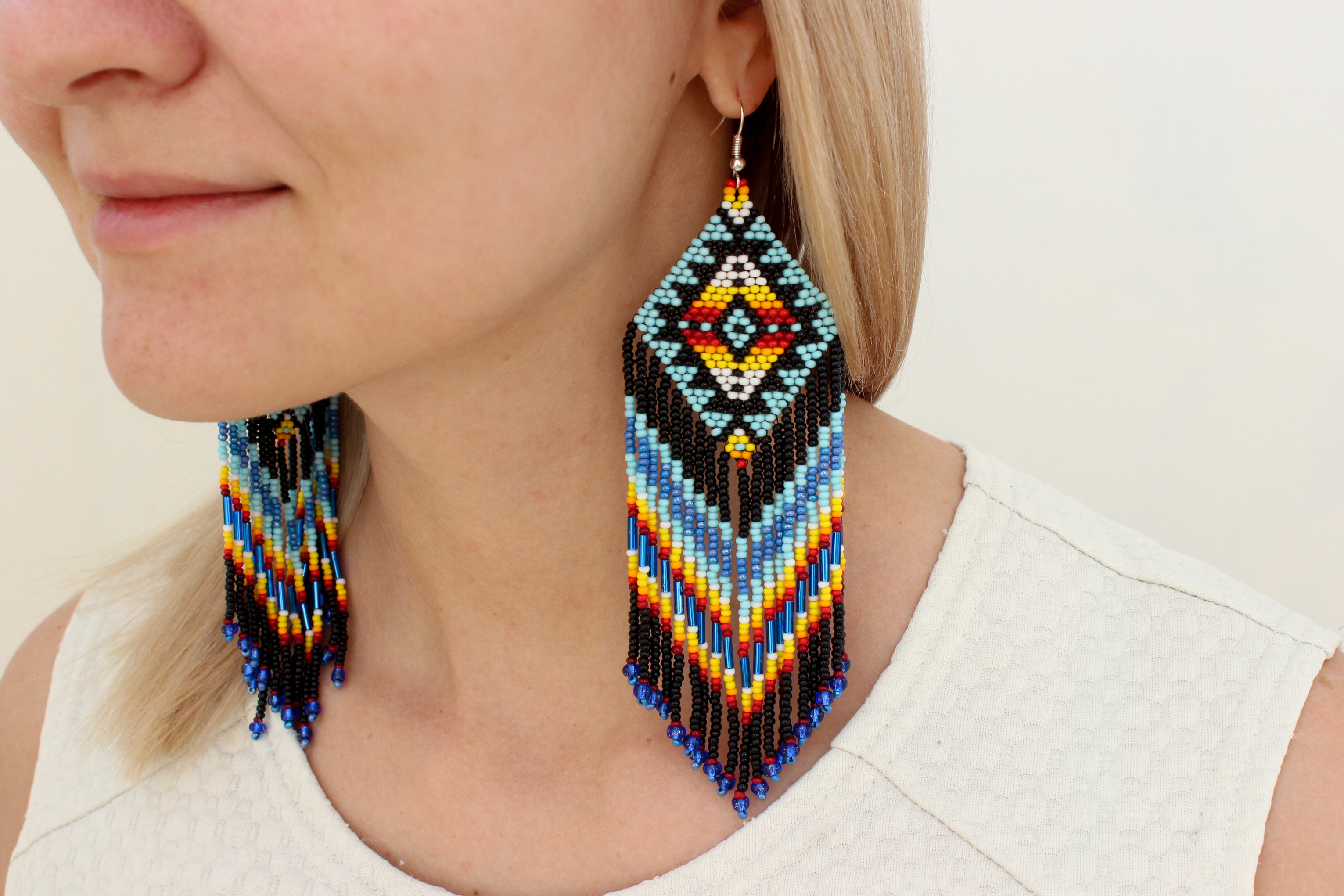 Native American Style Earrings Indian Beaded Geometric Aztec Tribal Large Dangling