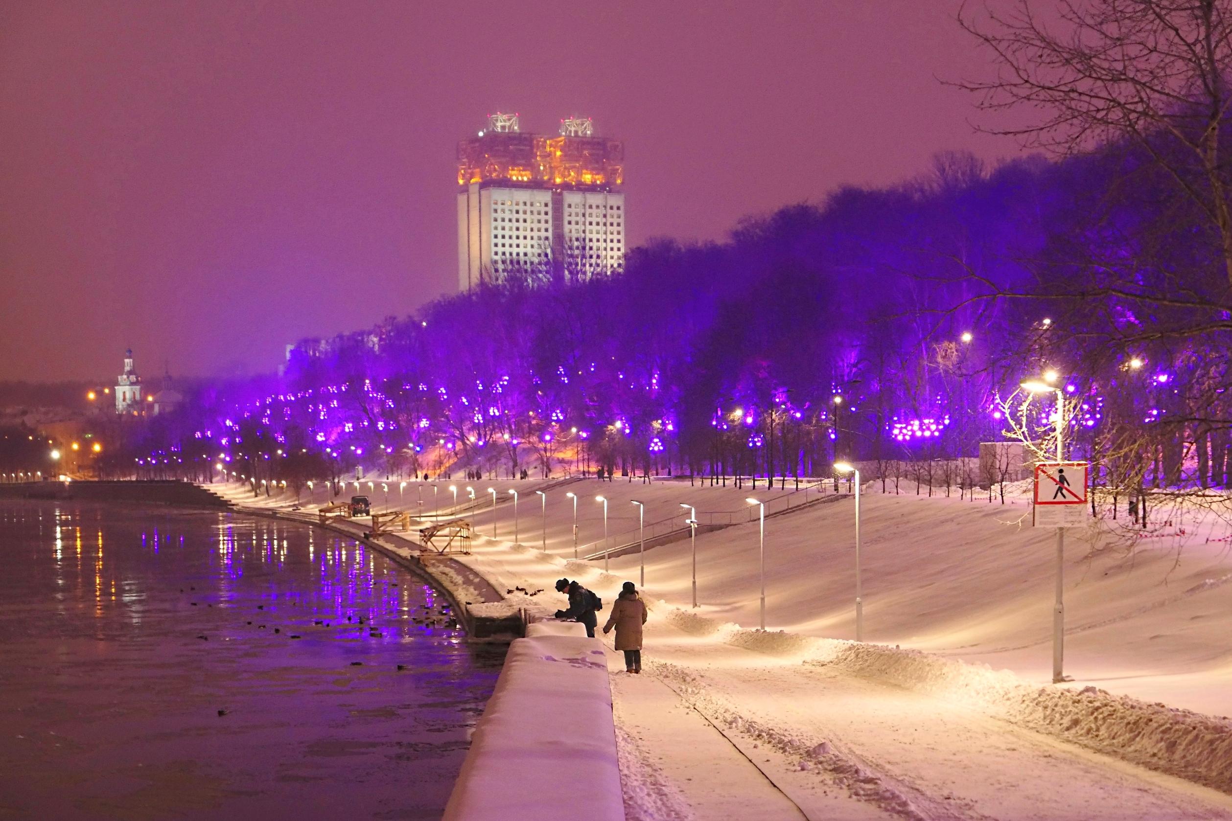 воробьевы горы фото зимой ночью одним