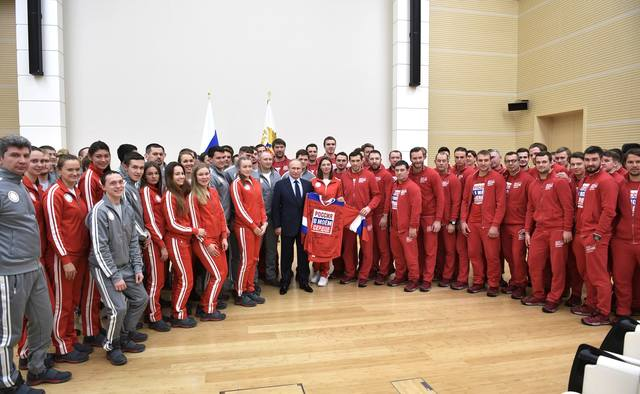 Vladimir Putin meets with Russian sportsmen – participants of the XXIII Olympic winter games 11
