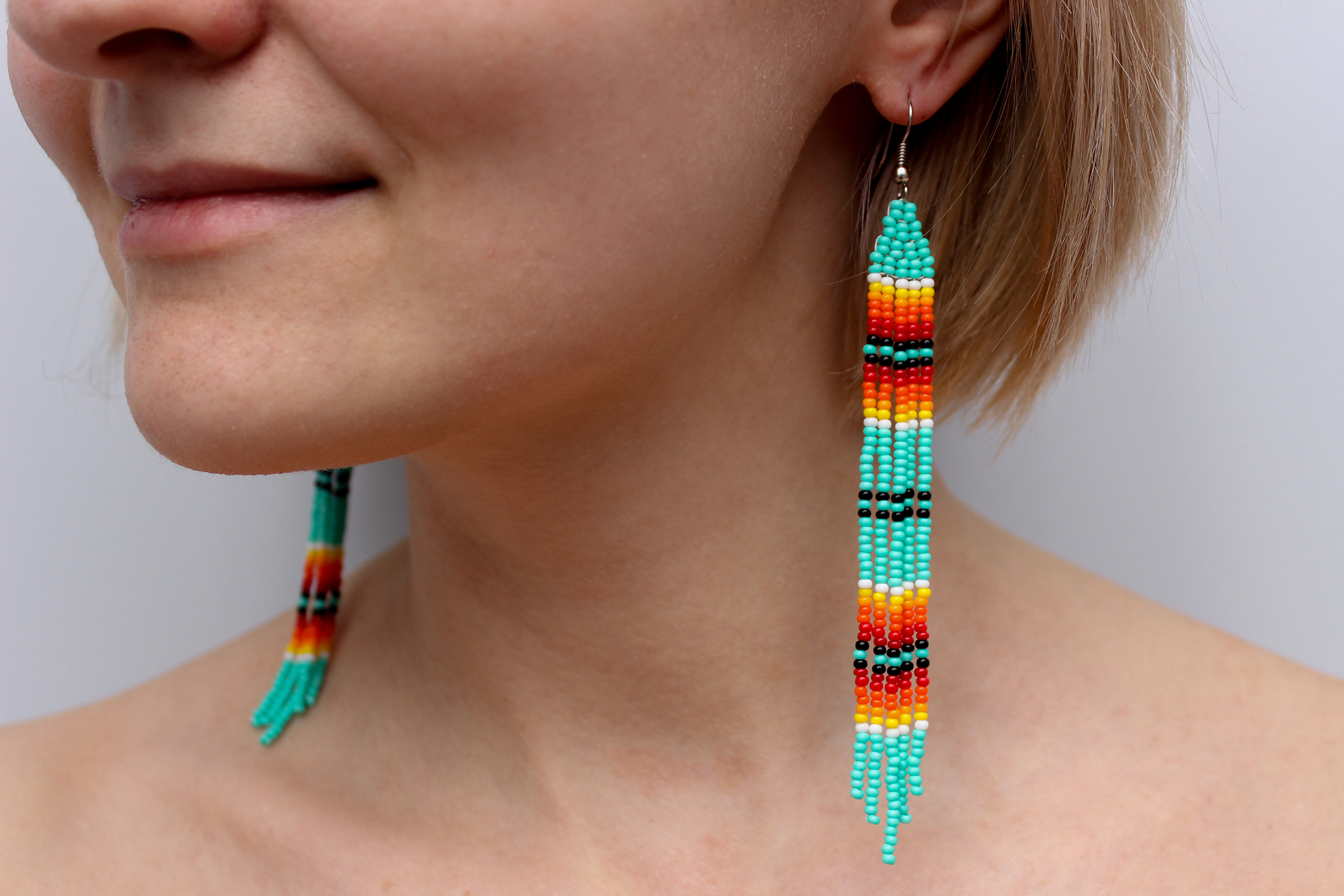 663d8bf2c7100 Details about Native American Style Earrings, American Indian Beaded  Earrings, Geometric Aztec