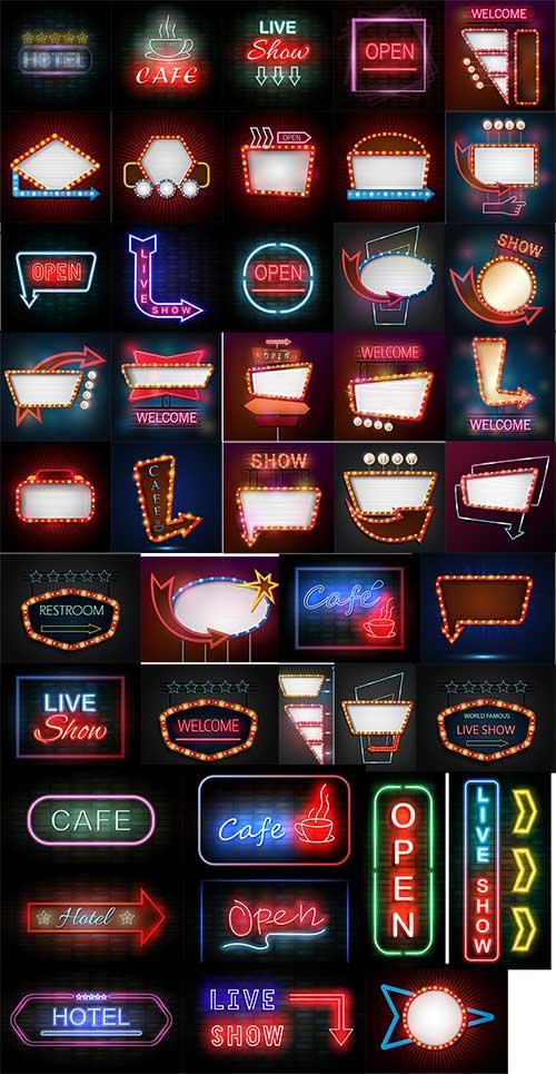 Неоновые вывески, надписи и указатели - Вектор / Neon signs, inscriptions and pointers - Vector