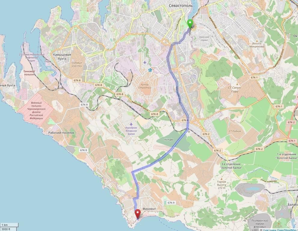 маршрут Севастополь - Фиолент