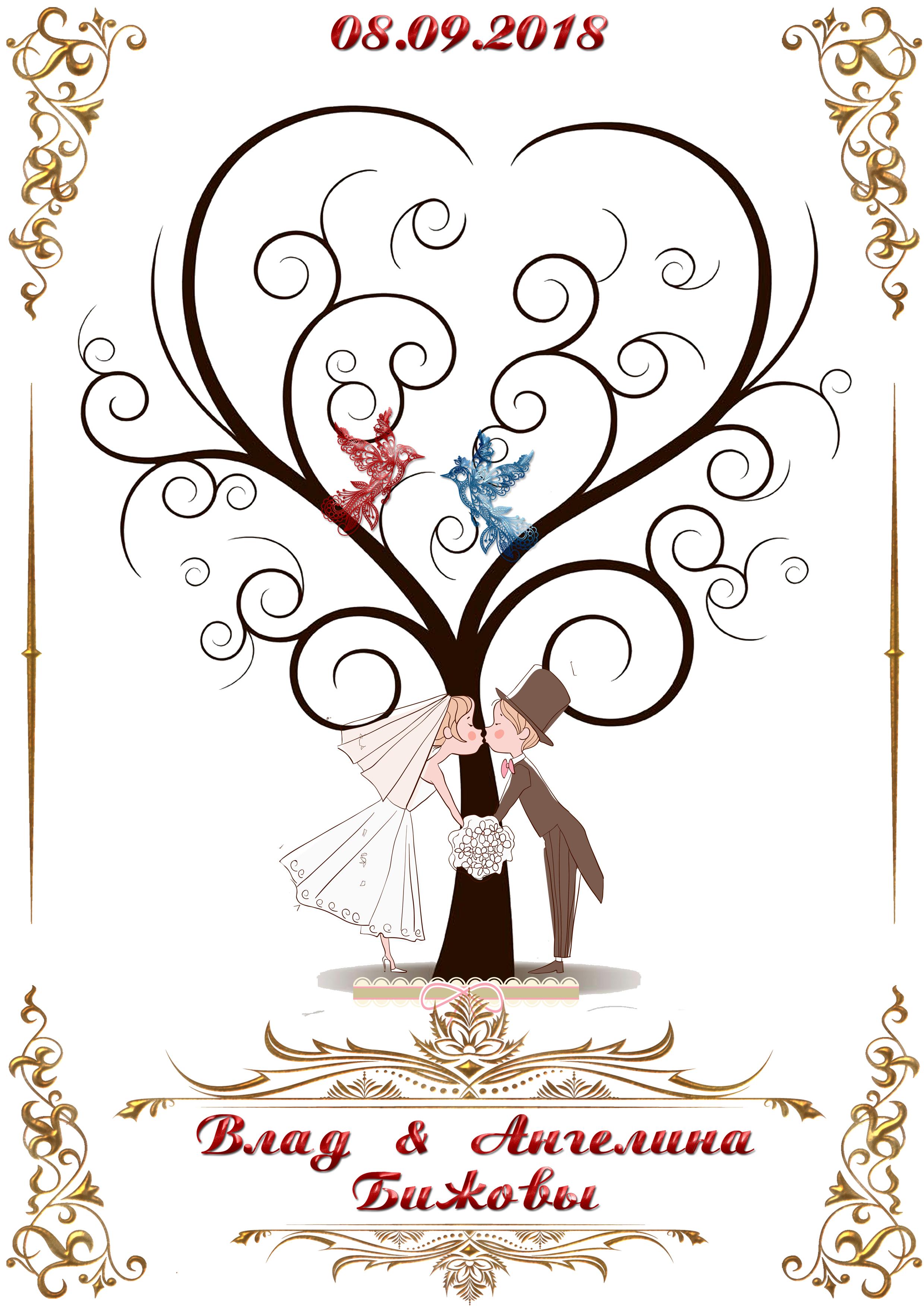 покупке шаблон свадебного дерева пожеланий как