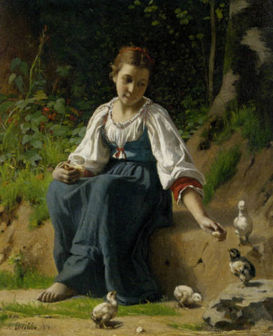François-Alfred-Delobbe-A-Young-Girl-feeding-Baby-Chicks