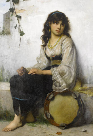 François-Alfred-Delobbe-The-Little-Tambourine-girl-1884