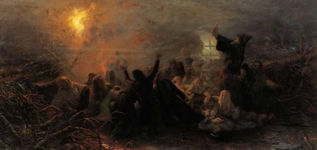 Самосожжение старообрядцев вконце XVII века. (Картина Григория Мясоедова)