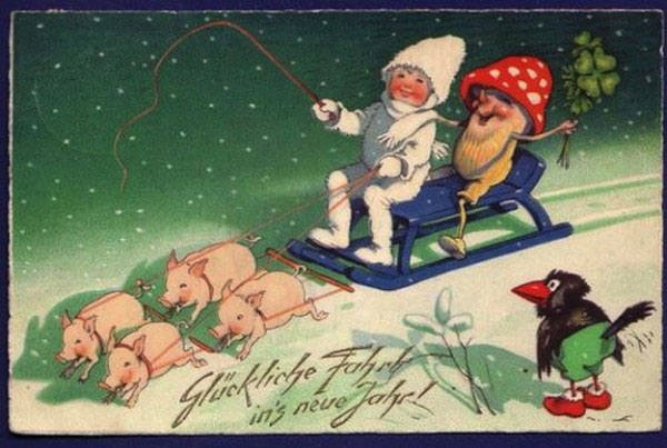 strange and unusual christmas cards from the past century 5