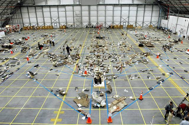 STS-107-Debris KSC Hangar