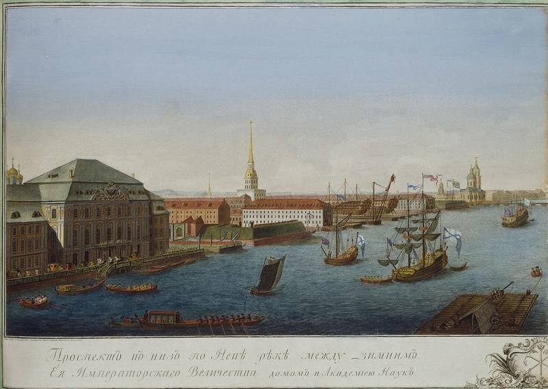 1280px-Makhayev, Kachalov - View of Neva Downstream between Winter Palace and Academy of Sciences 1753 (left)