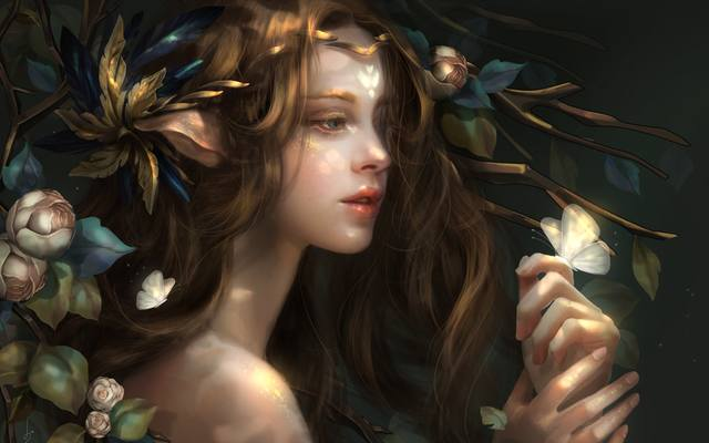 Fantasy-girl-flowers-butterfly 1920x1200