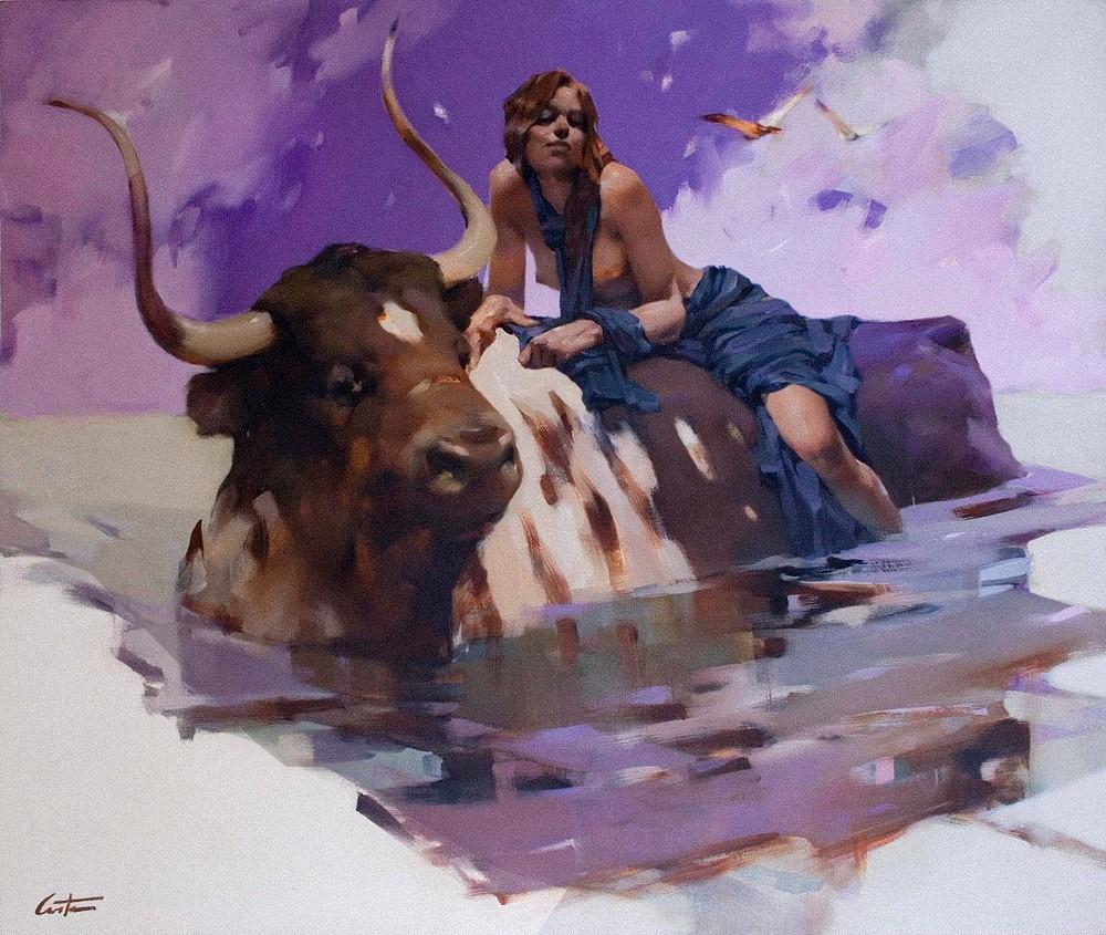 Девушка и бык картинка