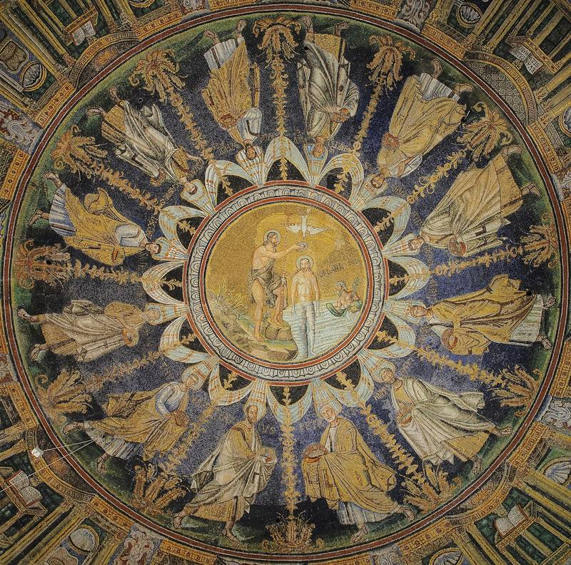 Baptistry of Neon ceiling mosaic (Ravenna)