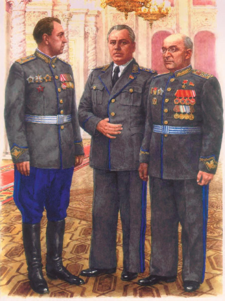 В С Абакумов,В Н Меркулов и Л П Берия на приеме в честь участников парада Победы Реконструированная фотография