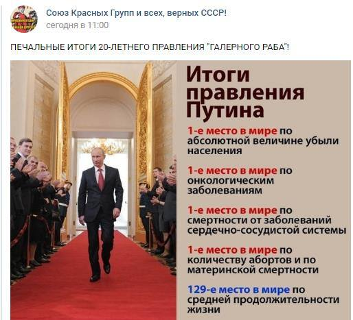 Итоги правления Путина