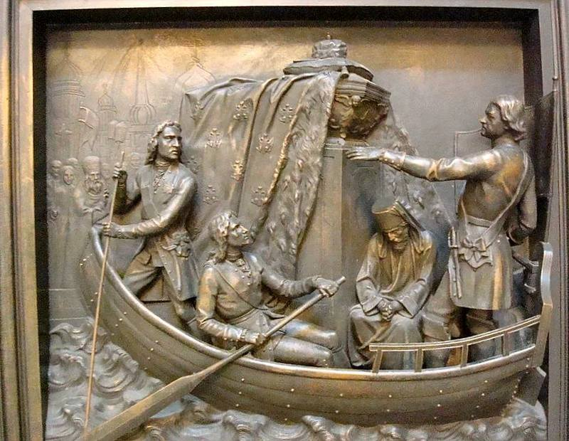 Петр I перевозит мощи Александра Невского