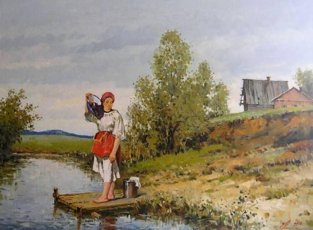 На реке, художник Евгений Васильевич Малых...