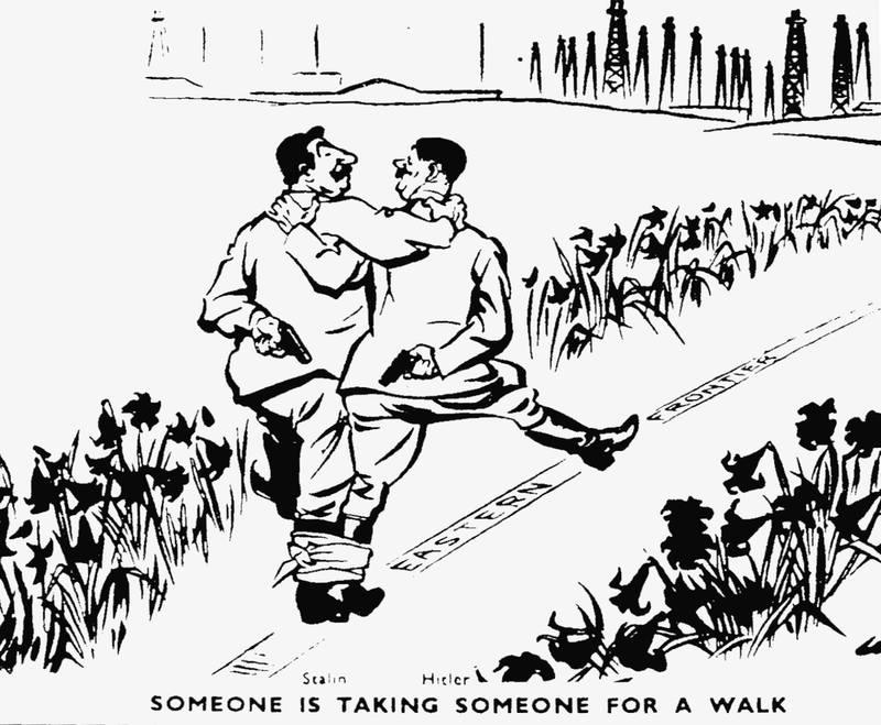 Английская карикатура Договора между Германией и СССР